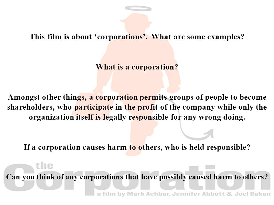 This film is about 'corporations'. What are some examples