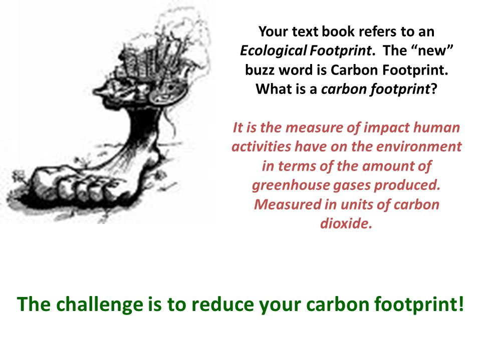 The challenge is to reduce your carbon footprint!