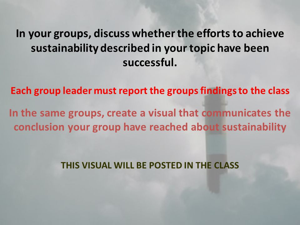 In your groups, discuss whether the efforts to achieve sustainability described in your topic have been successful.