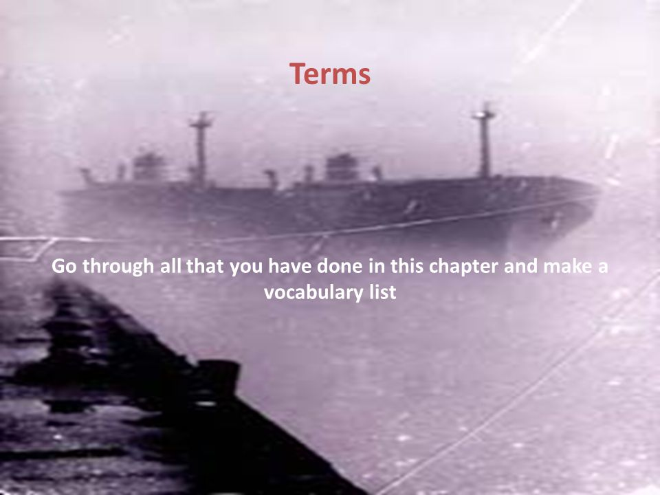 Terms Go through all that you have done in this chapter and make a vocabulary list