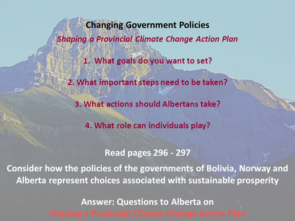 Changing Government Policies