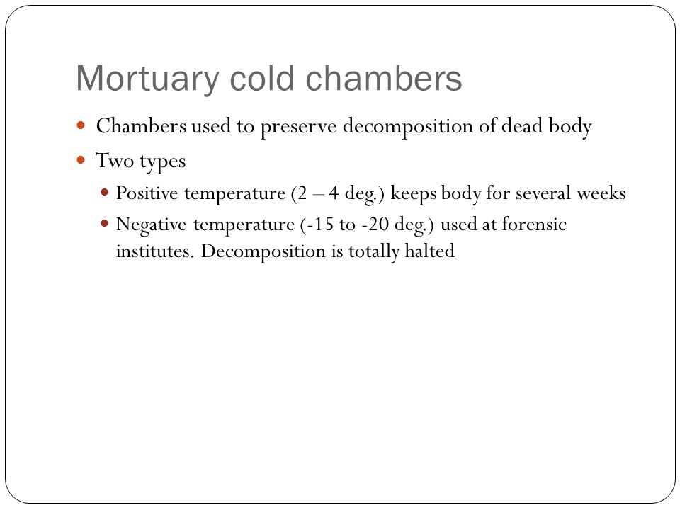 Mortuary cold chambers