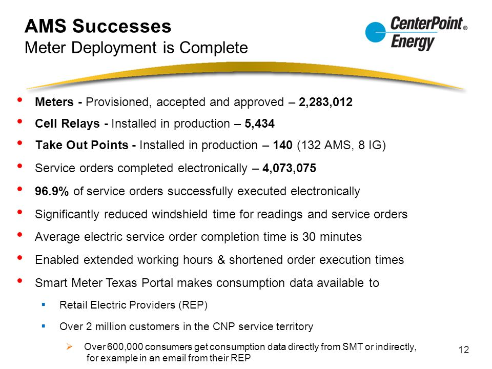 AMS Successes Meter Deployment is Complete