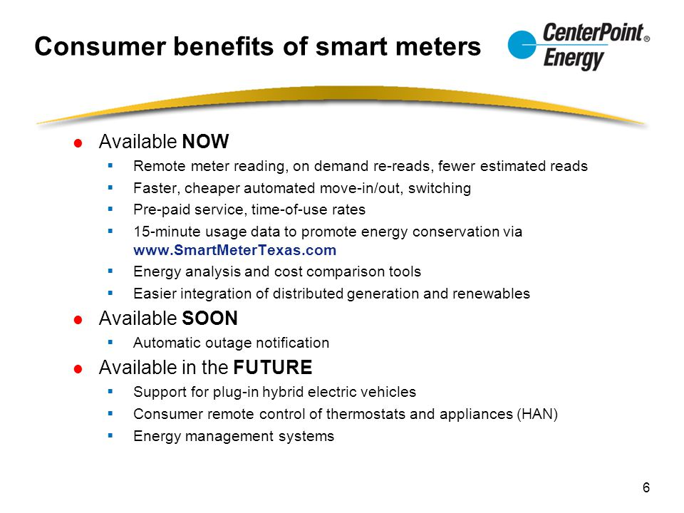 Consumer benefits of smart meters