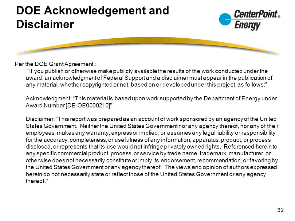 DOE Acknowledgement and Disclaimer