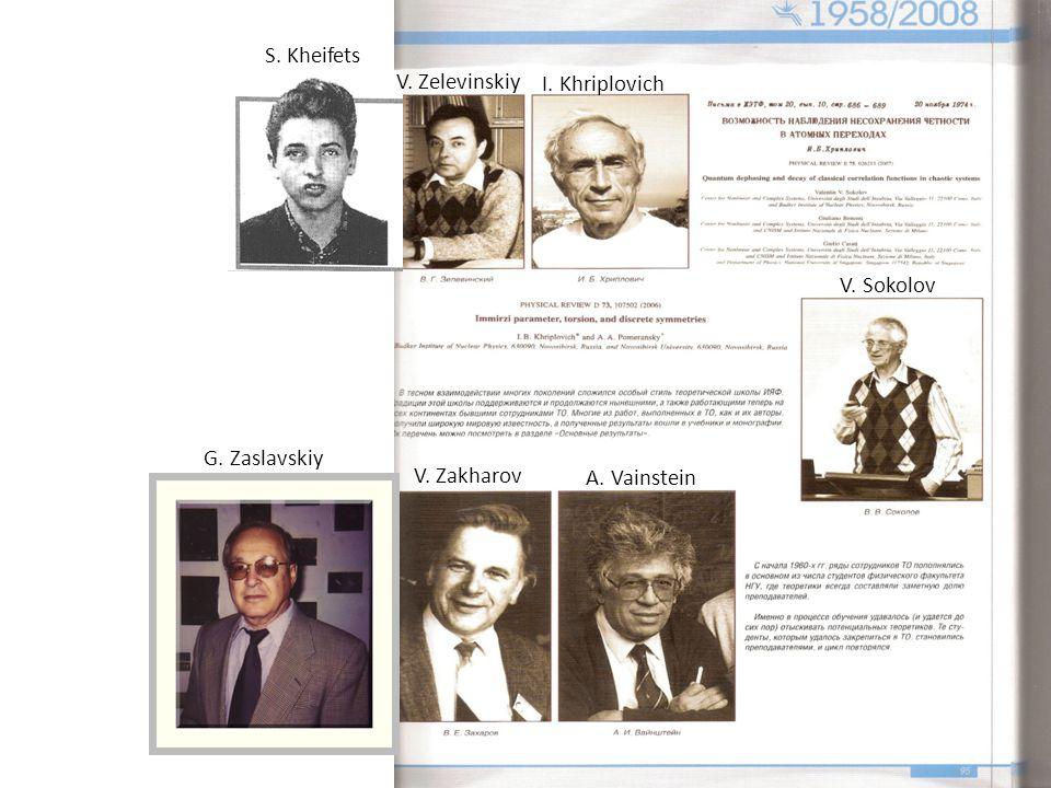 I. Khriplovich V. Sokolov A. Vainstein S. Kheifets V. Zelevinskiy