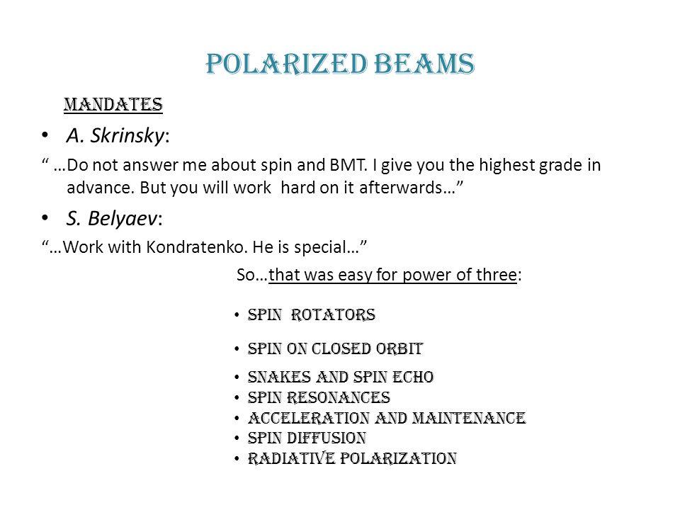 Polarized beams Mandates A. Skrinsky: S. Belyaev: