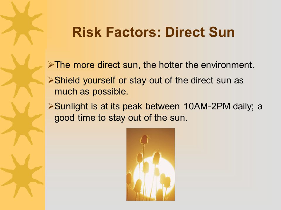 Risk Factors: Direct Sun