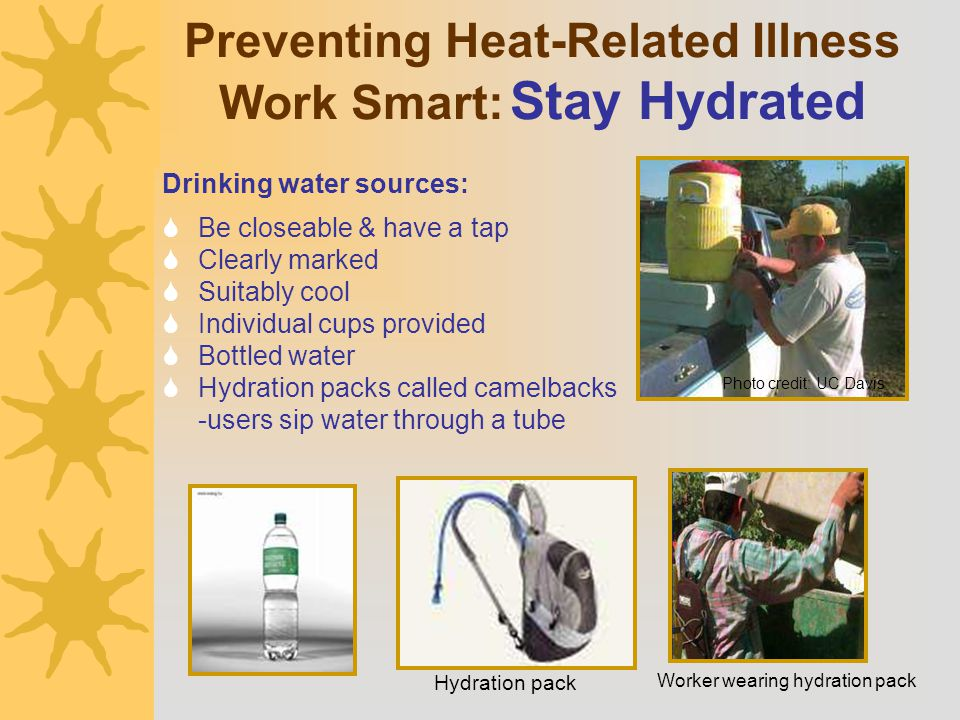Preventing Heat-Related Illness Work Smart: Stay Hydrated