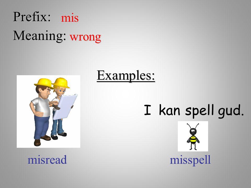 Prefix: mis Meaning: wrong Examples: I kan spell gud. misread misspell