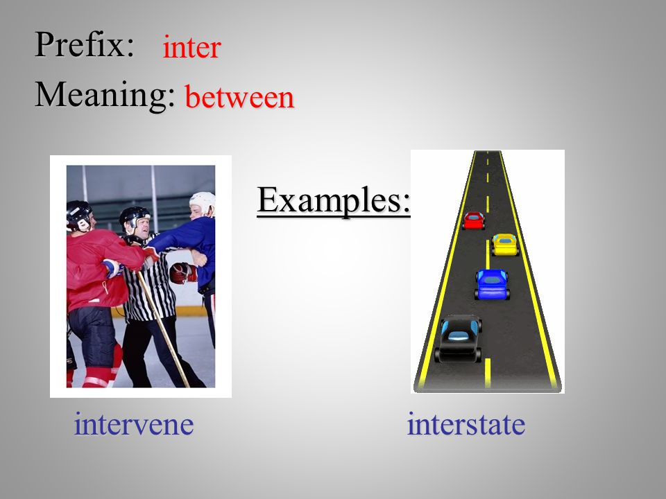 Prefix: inter Meaning: between Examples: intervene interstate