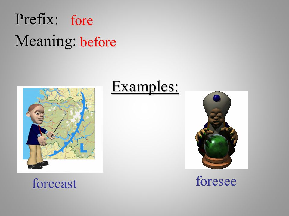 Prefix: fore Meaning: before Examples: foresee forecast
