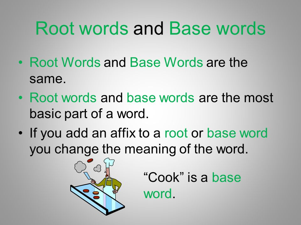 Root words and Base words