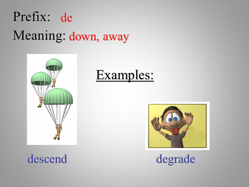 Prefix: de Meaning: down, away Examples: descend degrade