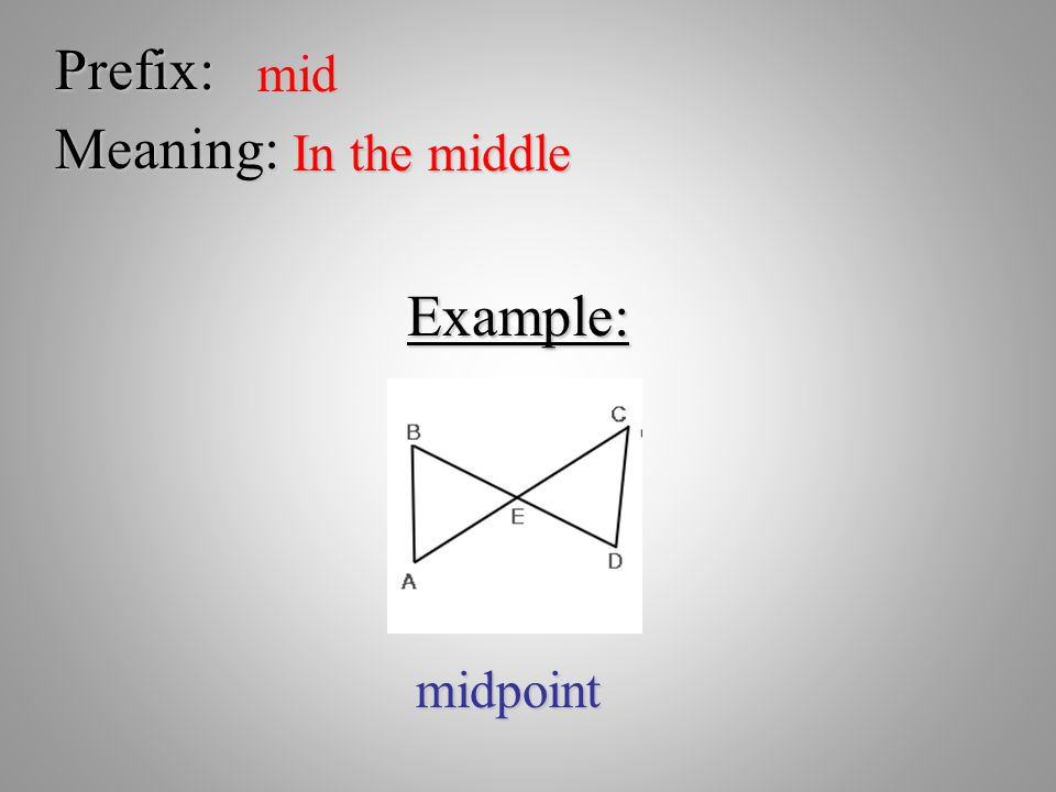 Prefix: mid Meaning: In the middle Example: midpoint
