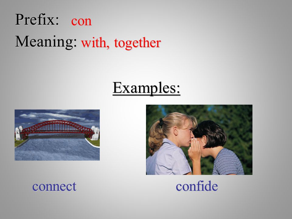 Prefix: con Meaning: with, together Examples: connect confide