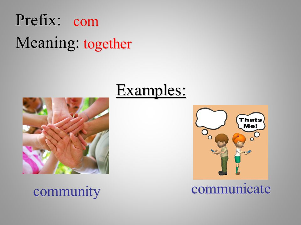 Prefix: com Meaning: together Examples: communicate community