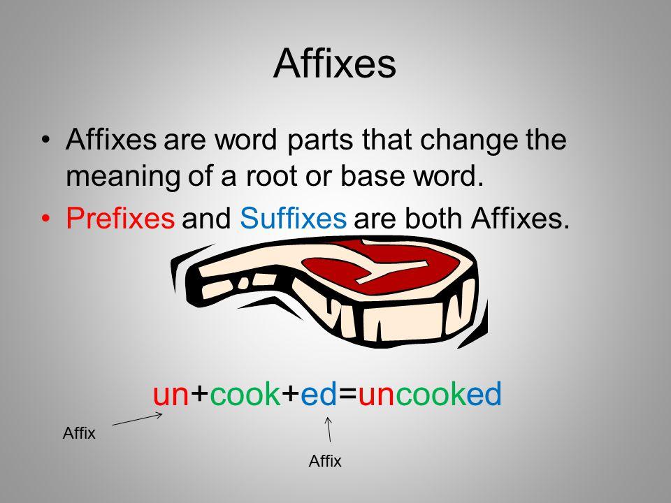 Affixes un+cook+ed=uncooked