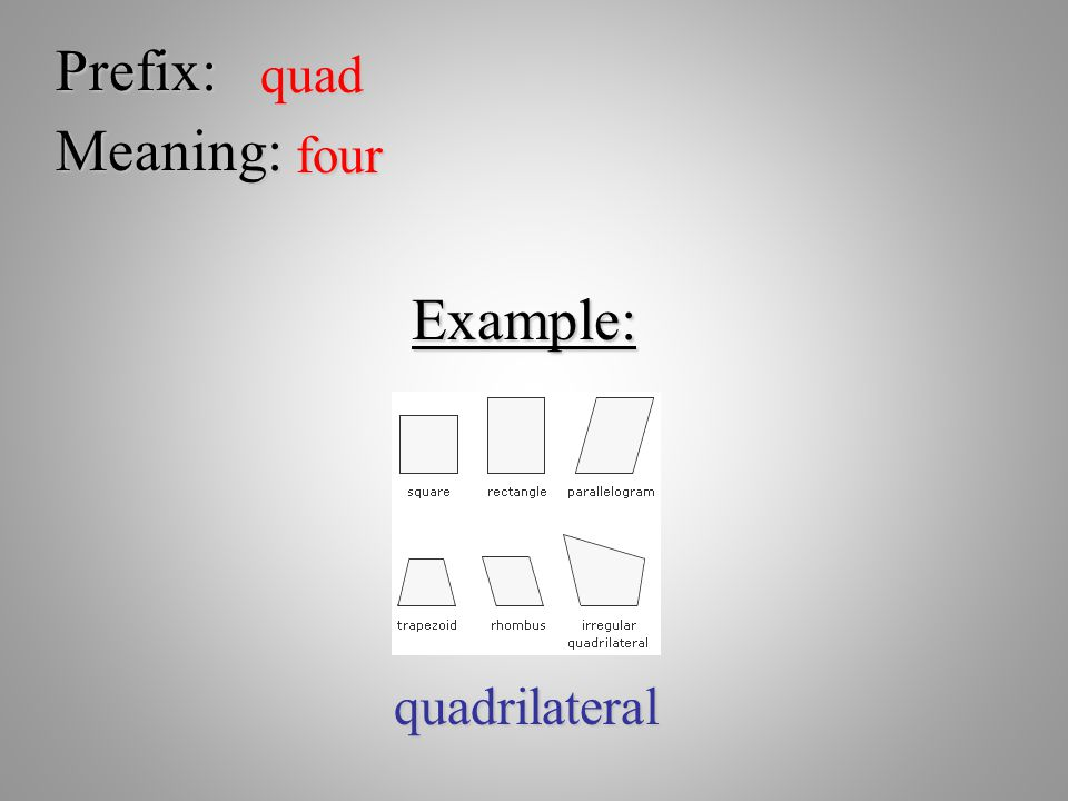 Prefix: quad Meaning: four Example: quadrilateral
