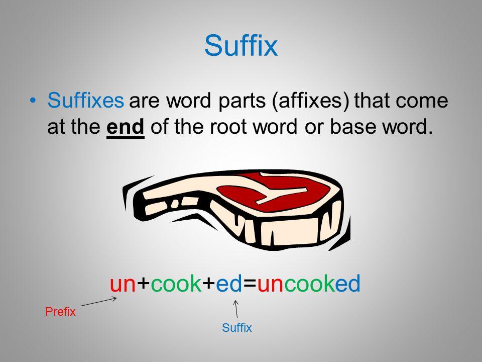 Suffix un+cook+ed=uncooked