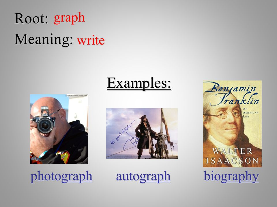 Root: graph Meaning: write Examples: photograph autograph biography