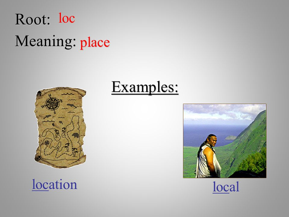 Root: loc Meaning: place Examples: location local