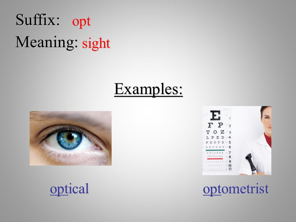 Suffix: opt Meaning: sight Examples: optical optometrist