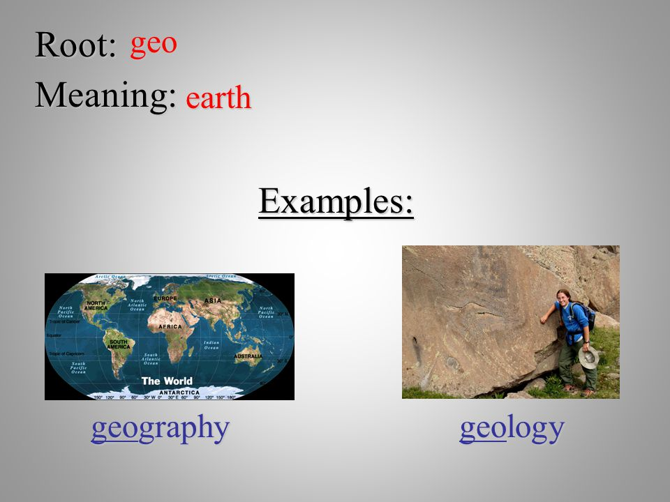 Root: geo Meaning: earth Examples: geography geology
