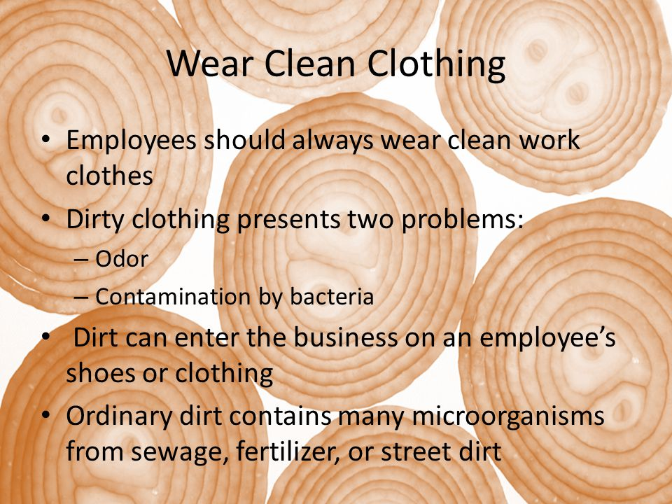 Wear Clean Clothing Employees should always wear clean work clothes