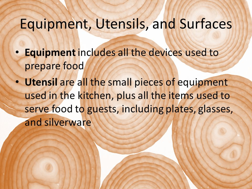 Equipment, Utensils, and Surfaces