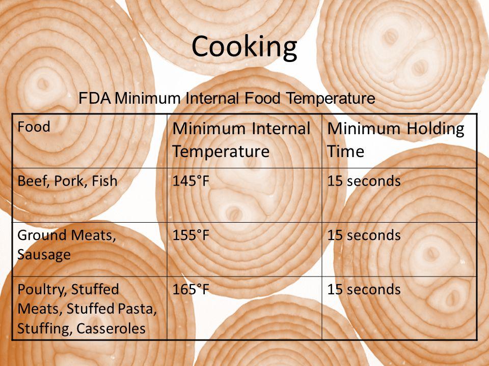 Cooking Minimum Internal Temperature Minimum Holding Time