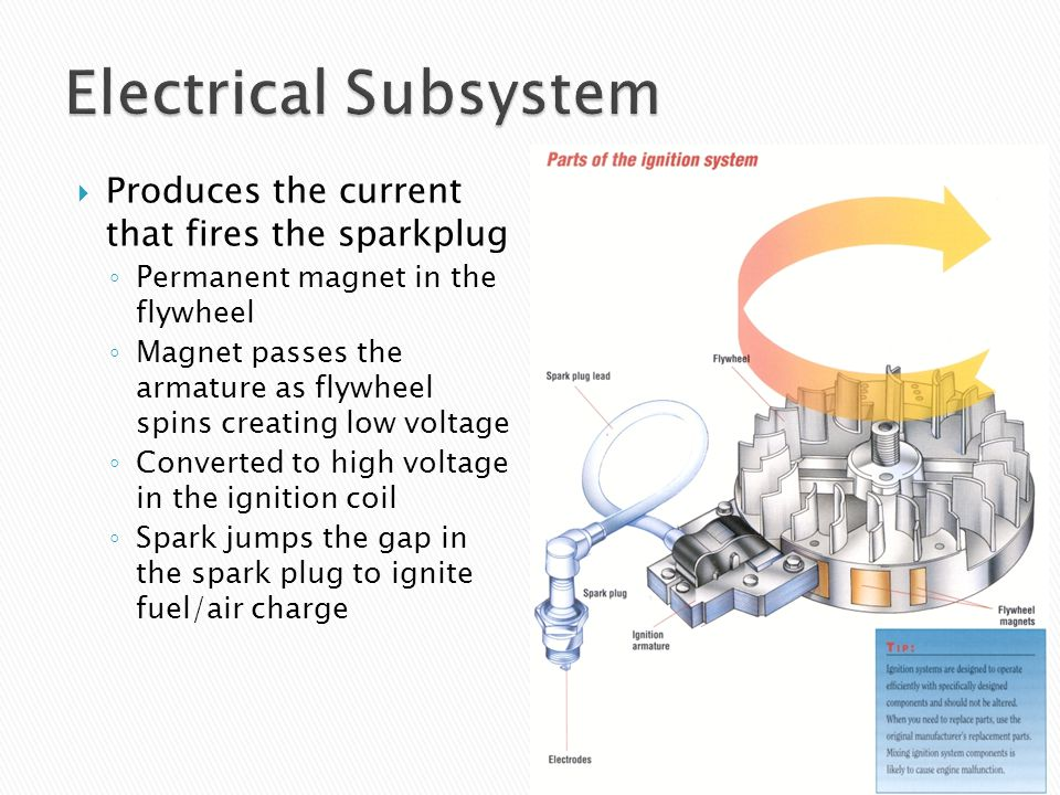 Electrical Subsystem Produces the current that fires the sparkplug