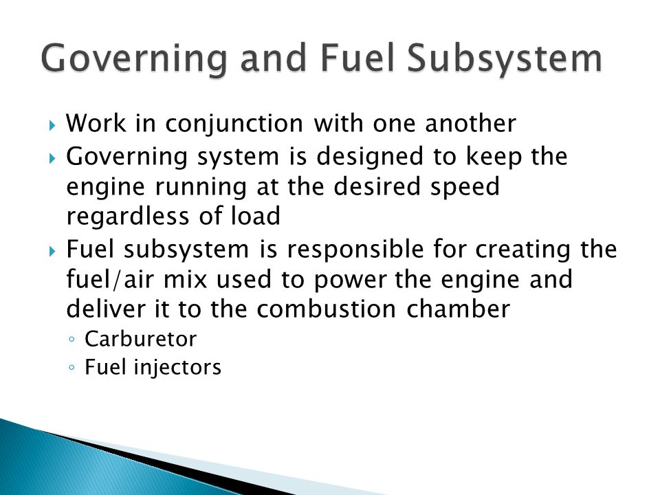 Governing and Fuel Subsystem