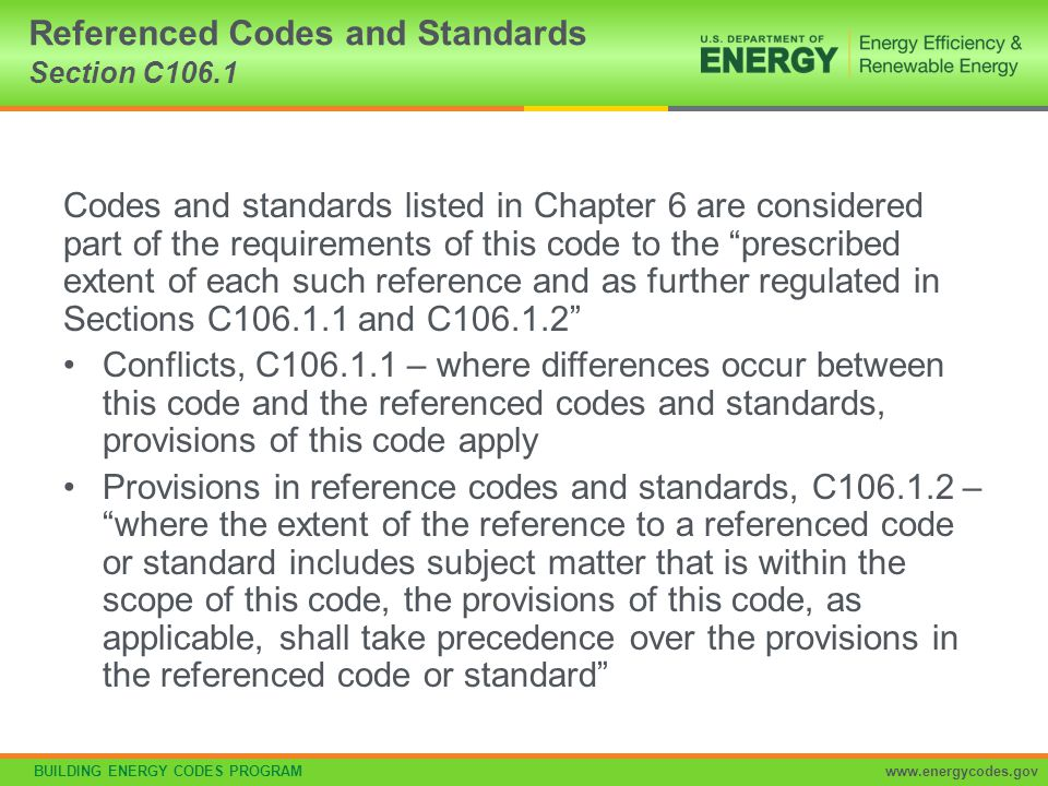 Referenced Codes and Standards Section C106.1