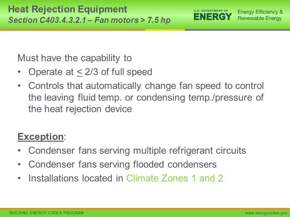 Heat Rejection Equipment Section C403.4.3.2.1 – Fan motors > 7.5 hp
