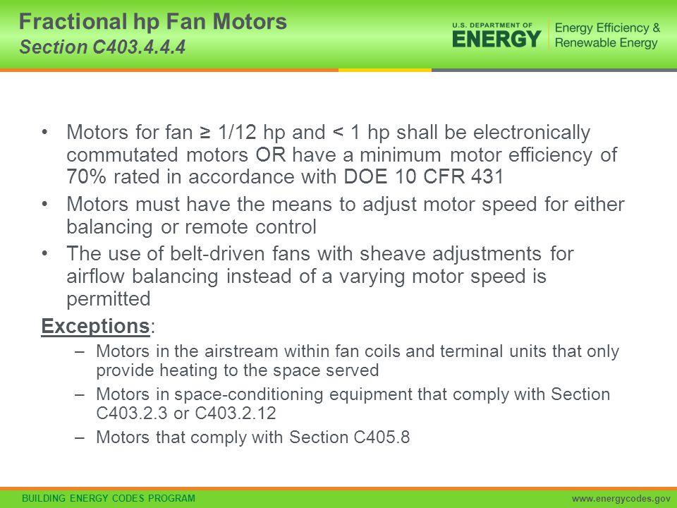 Fractional hp Fan Motors Section C403.4.4.4
