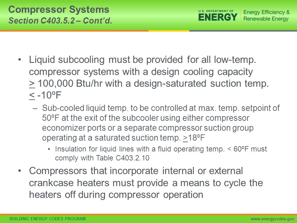 Compressor Systems Section C403.5.2 – Cont'd.
