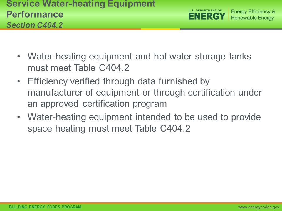 Service Water-heating Equipment Performance Section C404.2