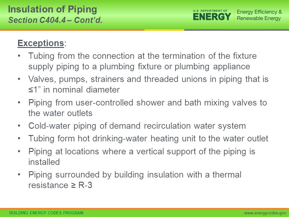 Insulation of Piping Section C404.4 – Cont'd.
