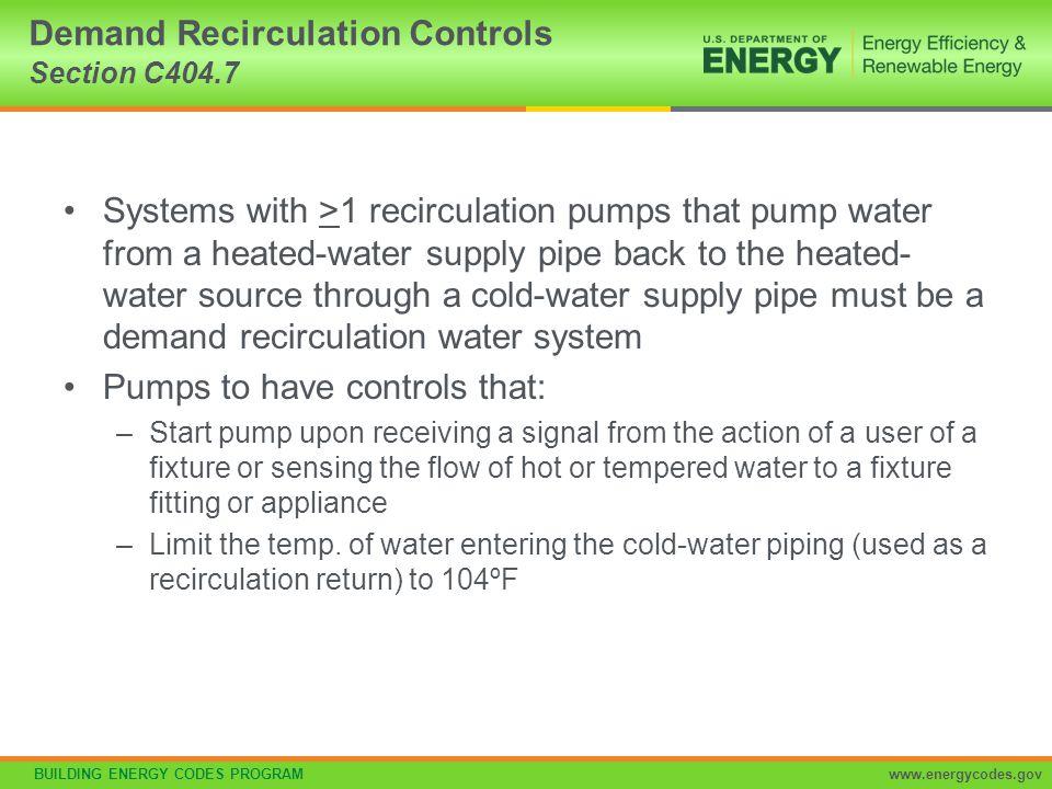 Demand Recirculation Controls Section C404.7