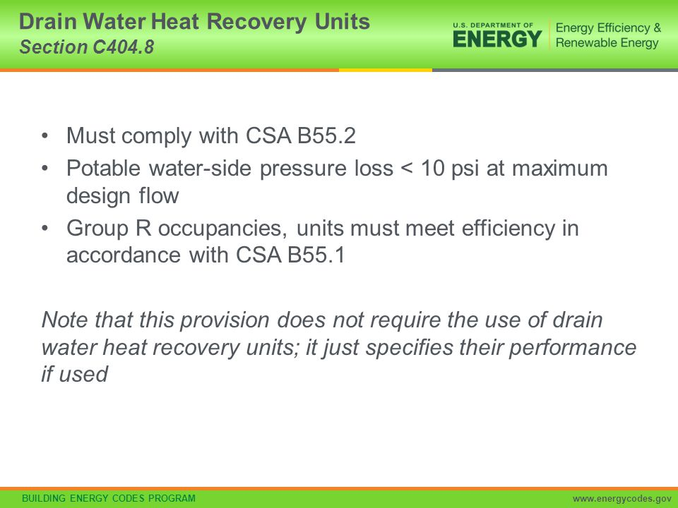 Drain Water Heat Recovery Units Section C404.8