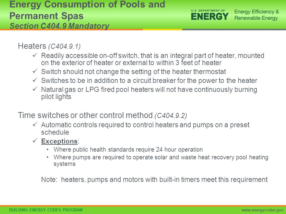 Energy Consumption of Pools and Permanent Spas Section C404