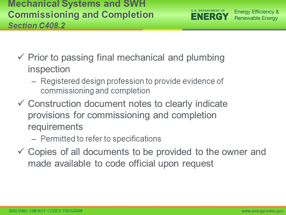 Mechanical Systems and SWH Commissioning and Completion Section C408.2