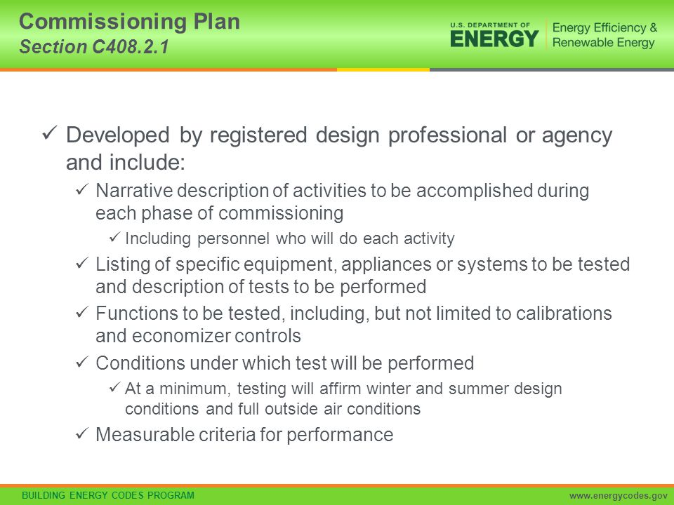 Commissioning Plan Section C408.2.1