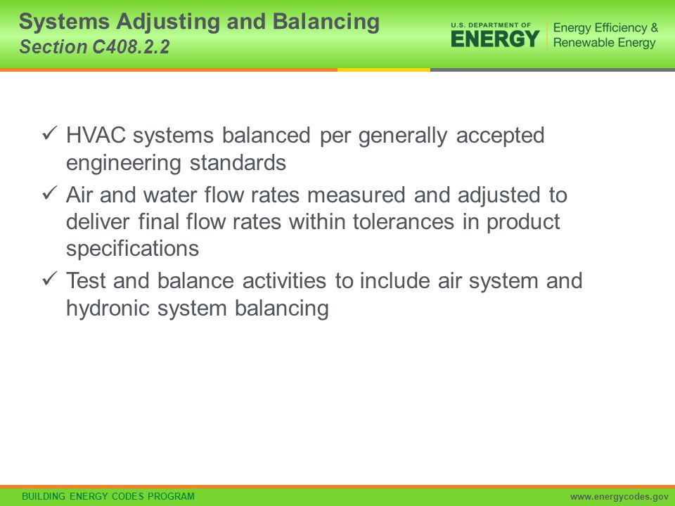Systems Adjusting and Balancing Section C408.2.2