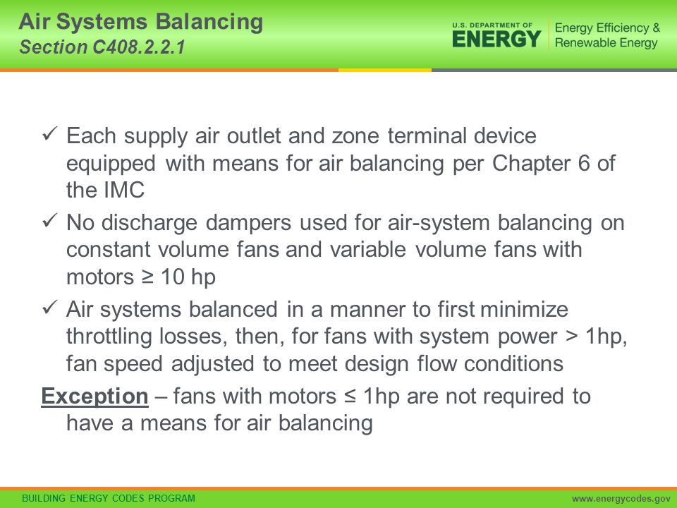 Air Systems Balancing Section C408.2.2.1