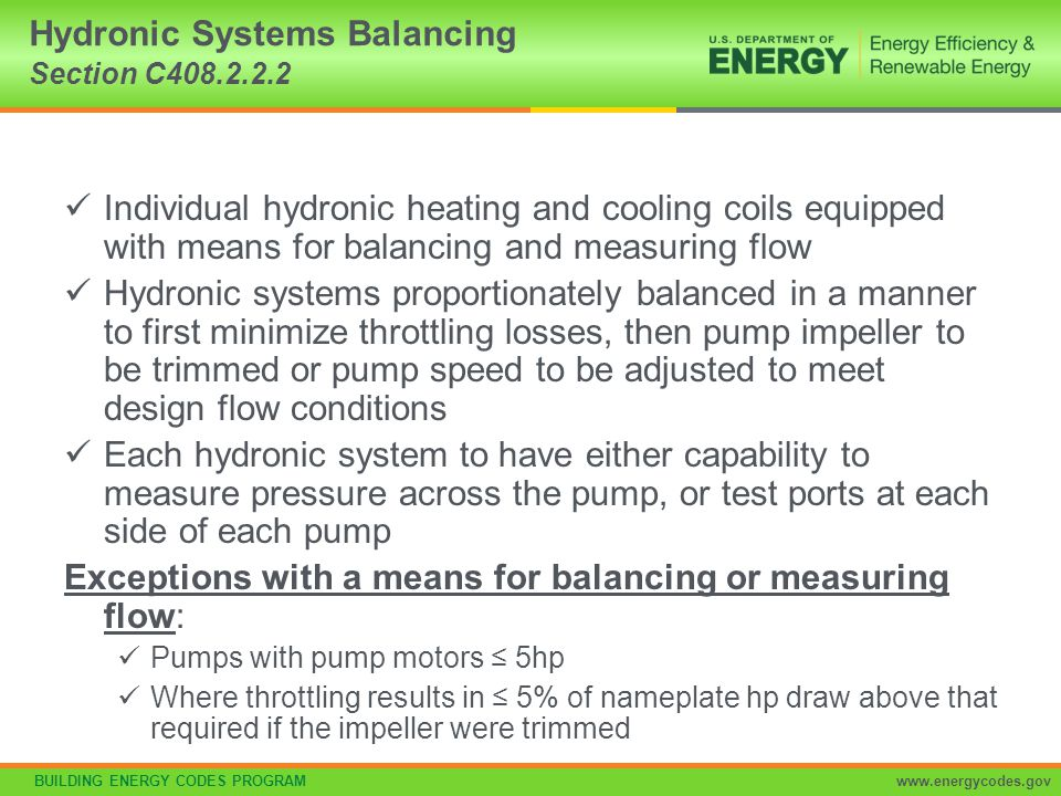 Hydronic Systems Balancing Section C408.2.2.2