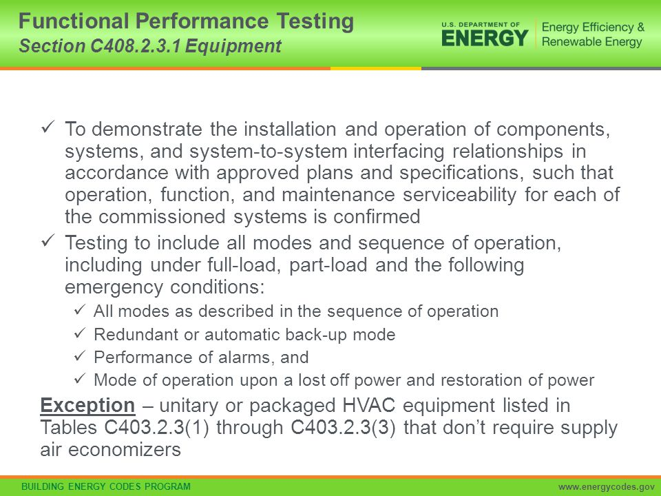 Functional Performance Testing Section C408.2.3.1 Equipment