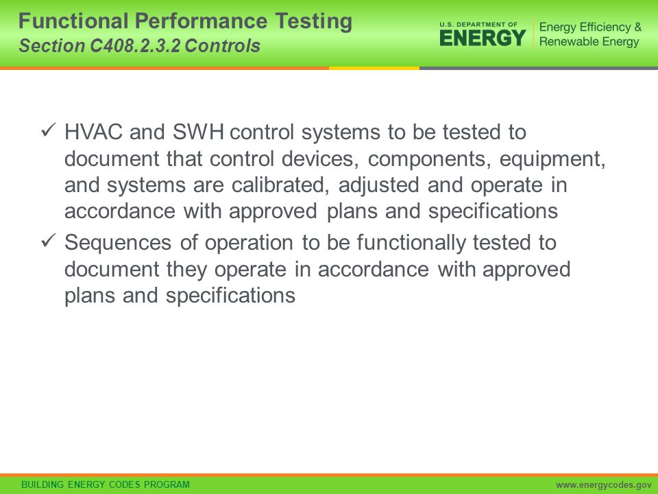 Functional Performance Testing Section C408.2.3.2 Controls
