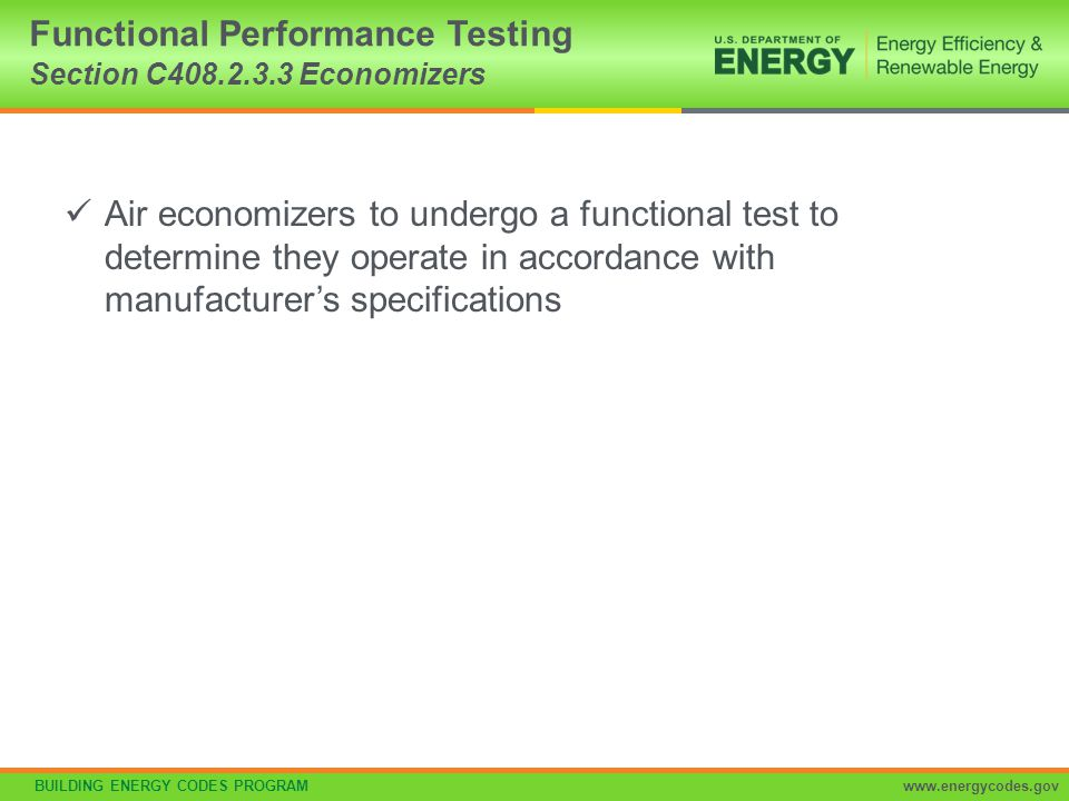 Functional Performance Testing Section C408.2.3.3 Economizers